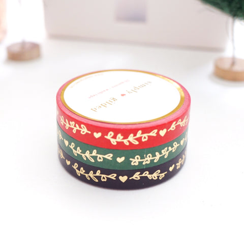 WASHI TAPE 7.5mm SET of 3 - Festive HEART & VINE + LT. GOLD foil (November 19 Holiday Release)