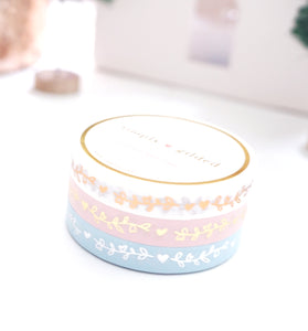 WASHI TAPE 7.5mm set of 3 - SNOW BELLE'S HEART & VINE + ROSE gold/Light GOLD/SILVER foil
