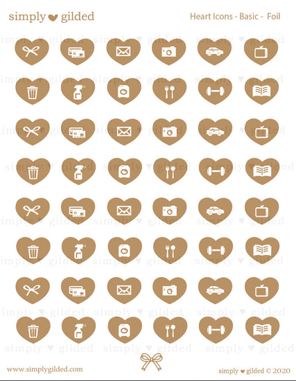 STICKERS - GLOSSY Heart ICONS sticker sheet + YOU PICK foil