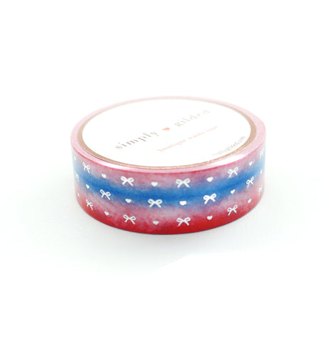 WASHI TAPE 15mm - Red, White & Blue HEART & BOW Variation Ombré + silver (June 22nd Release)
