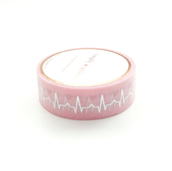 WASHI TAPE 15mm - Heart CHART + silver foil