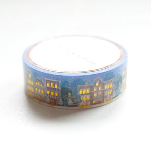 WASHI 15mm - Holiday CITY Street NIGHT 2.0 + hot gold (blue)