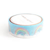 WASHI TAPE 15mm - SILVER HOLO LINING Rainbow clouds + silver holographic foil