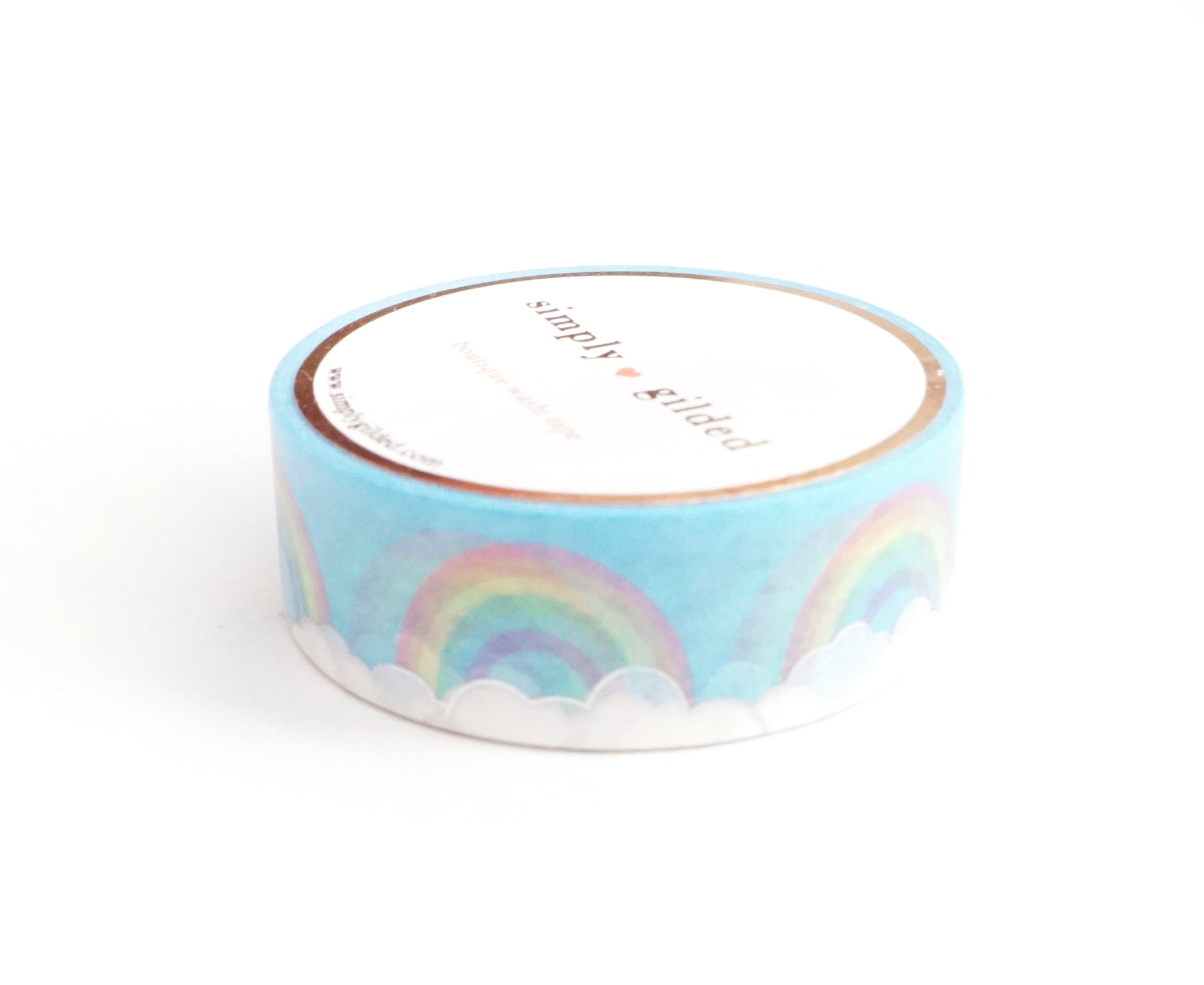 WASHI TAPE 15mm - SILVER HOLO LINING Rainbow clouds + silver holographic foil (March 17 Release)