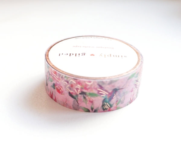 WASHI TAPE 15mm - Valentine's Pink HUMMINGBIRD + rose gold foil (January 10 Release)