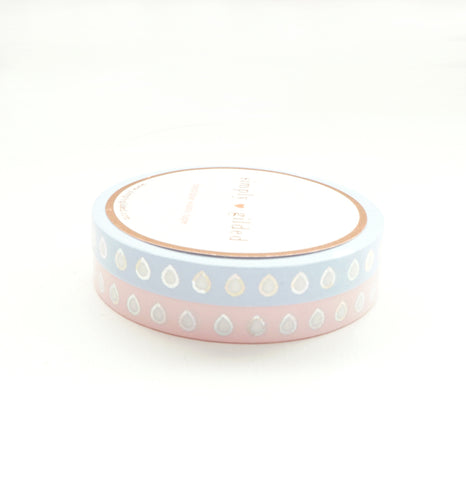 PERFORATED WASHI TAPE 6mm set of 2 - HYDRATION droplets + sparkling holographic (May Release)