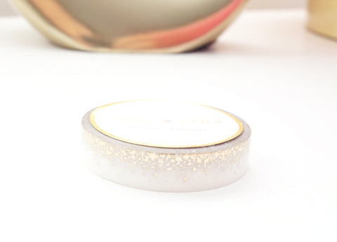 WASHI TAPE 10mm - STARDUST WHITE + light gold/holographic foil (Mystery Monday)