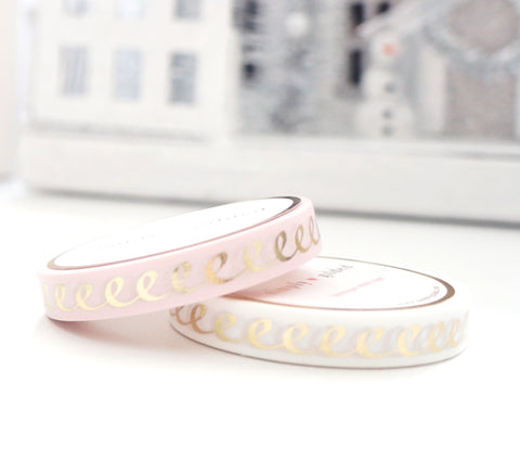 7.5mm WASHI TAPE set of 2 - BLUSH & White ICING + Champagne Gold foil (Black Friday 19 Release)
