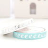 WASHI TAPE 7.5mm set of 2 - Robin's Egg & White ICING + silver foil