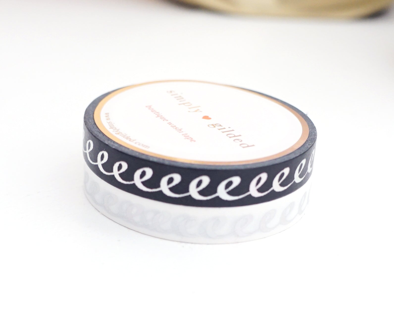 WASHI TAPE 7.5mm set of 2 - BLACK & White ICING + holographic silver foil (New Release)