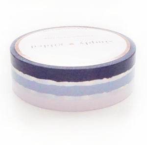 WASHI 15mm - Inky Stripes + silver holographic foil (Iridescent Ink)
