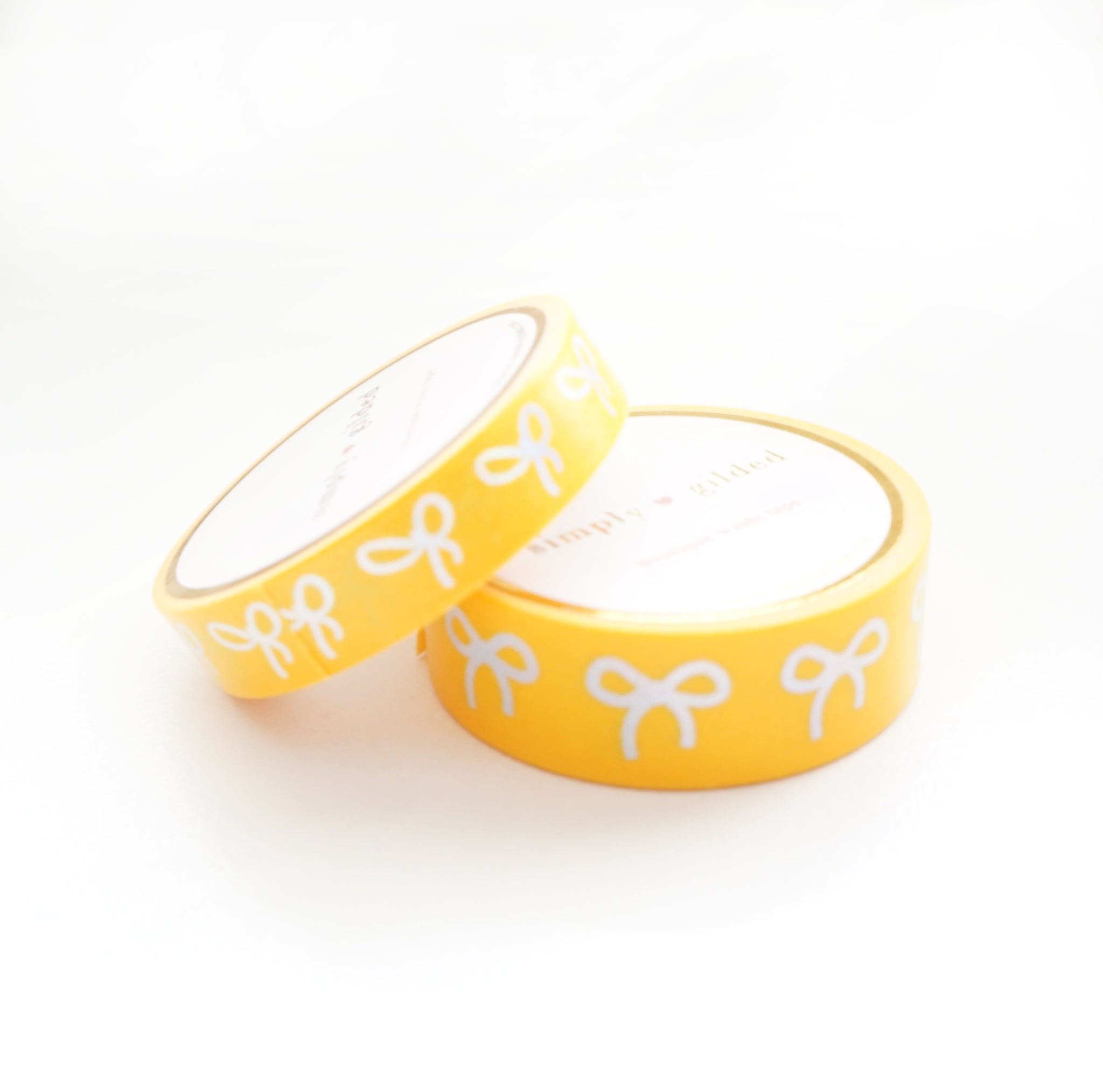 WASHI TAPE 15/10mm BOW set - INTENSE YELLOW + silver holographic (May Release, Presale) LIMIT of 2
