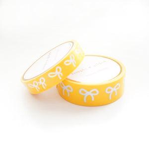 WASHI 15/10mm BOW set - INTENSE YELLOW + silver holographic (Restock)
