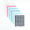 STICKERS - GLOSSY CLEAR IRIDESCENT Heart Icons DATES + you choose color