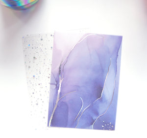 VELLUM/ACETATE set of 2 - silver holographic foil (Iridescent Ink)
