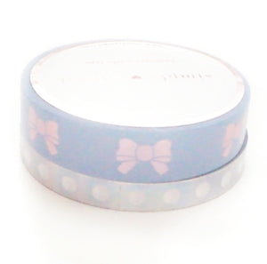 WASHI - 10mm Blue & Aurora Pink Puffy Bow / Perforated 6mm Silver Holographic check list (Iridescent Ink)