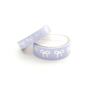 WASHI 15/10mm - SWEET IRIS + silver sparkler holo bow