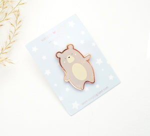 PIN - JASPER THE BEAR Enamel pin + rose gold (September Release)