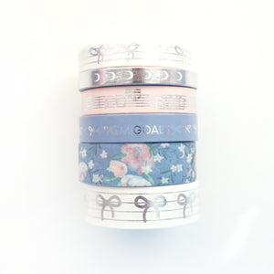 LULLABY MOON - WASHI FULL SET + silver / glitter overlay (LULLABY MOON)