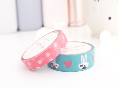 WASHI TAPE 15/10mm set JUNIPER NERD (silver foil) + PINK POLKA DOT 10mm set (August 2 release)