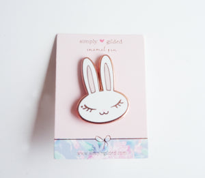 JUNIPER BUNNY Enamel bow pin white/pink + rose gold (pin)