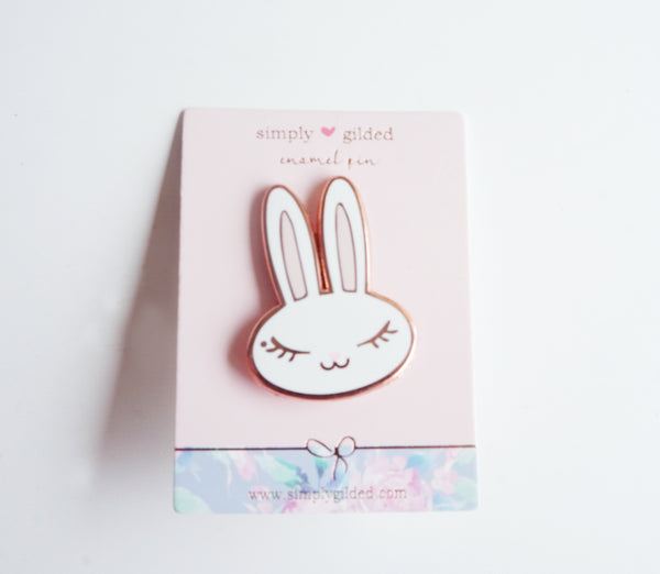 JUNIPER BUNNY Enamel pin white/pink + rose gold (pin)