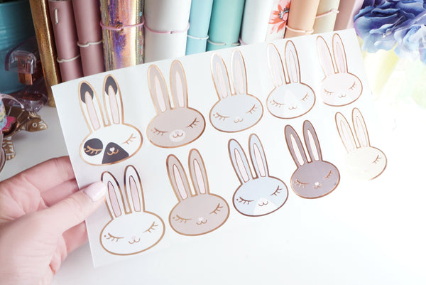 Juniper BUNNY LABELS - rose gold foil bunny seals