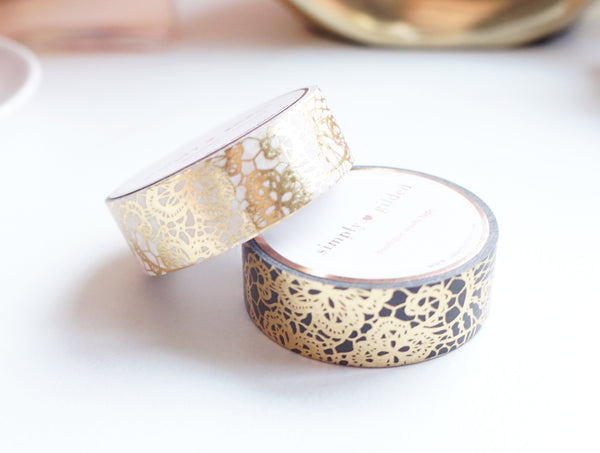 WASHI TAPE 15/15mm set of 2 - LACEY Valentine's Day + gold (January 10 Release)