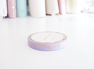 WASHI TAPE 7.5mm - LAVENDER HEART & VINE + rose gold foil (Mystery Monday)