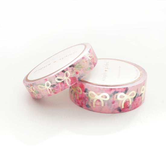 WASHI TAPE 15/10mm BOW set - Light Pink FLORAL + lt. gold