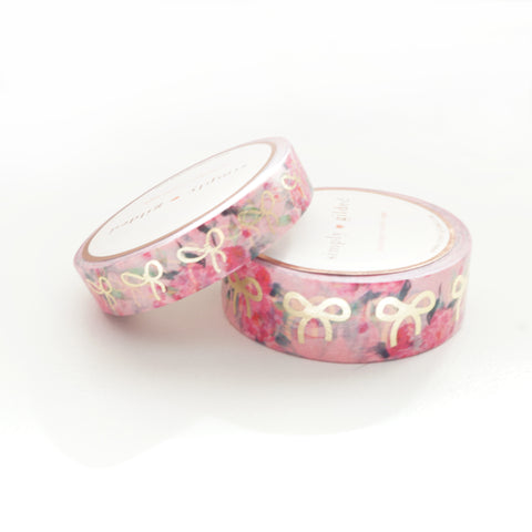 WASHI TAPE 15/10mm BOW set - Light Pink FLORAL + lt. gold (May Release)