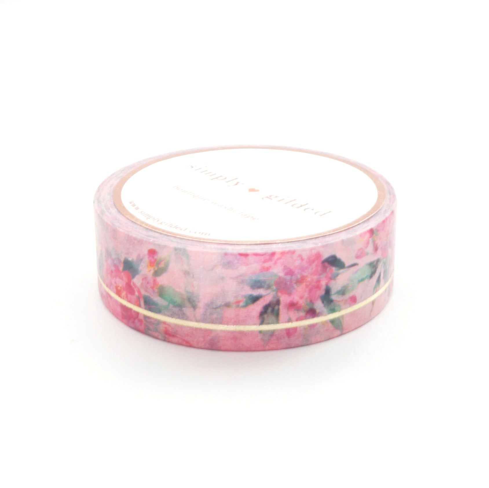 WASHI TAPE 15mm - Light Pink Floral SIMPLE LINE + lt. gold (May Release)