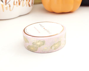 PINK LOTUS +light gold foil washi tape 15 mm (Define and Flourish)
