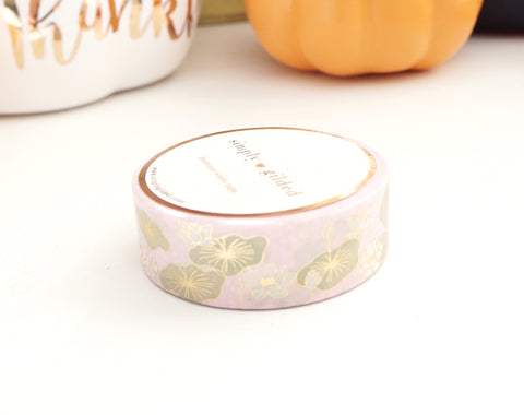 PINK LOTUS + light gold foil washi tape 15 mm (Define and Flourish)