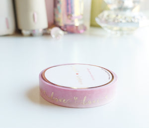 WASHI TAPE 10mm LOVE SCRIPT + light gold foil (Mystery Monday)