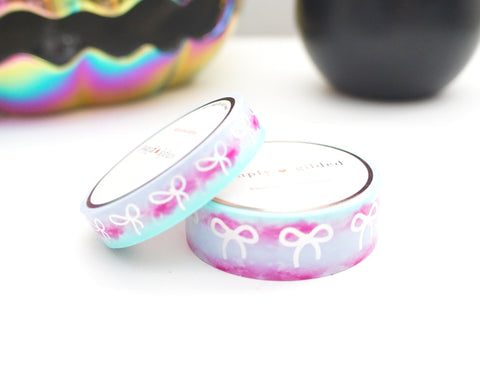 WASHI TAPE 15/10mm BOW set - MAGIC POTION (lavender, mint, magenta) OMBRE + silver holographic (Mystery Monday)