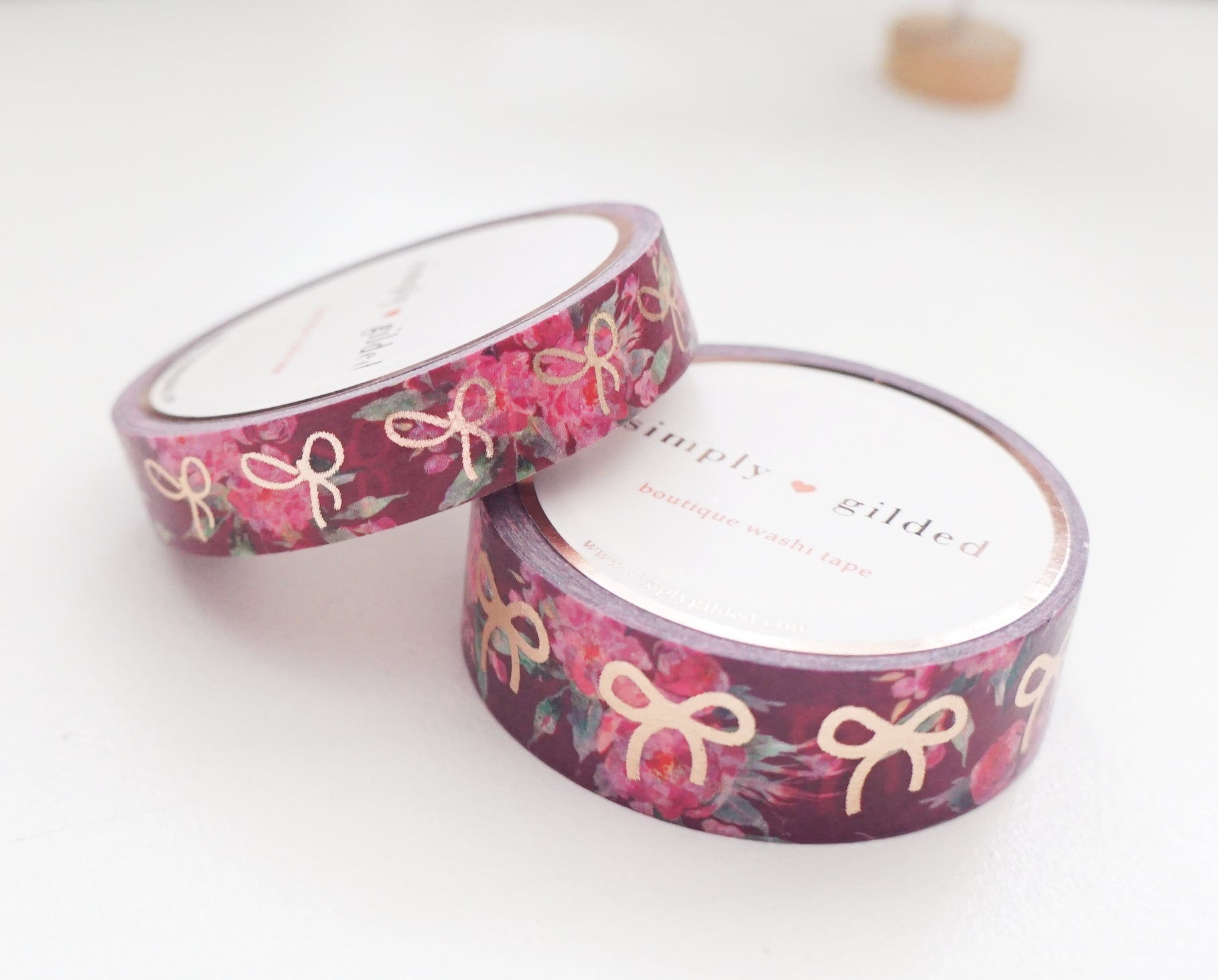 WASHI TAPE 15/10mm BOW set - MAROON Floral + ROSE gold foil