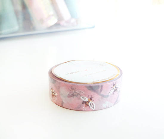 WASHI 15mm - MAY FLOWERS BLUSHING BEES + silver (Mystery Monday)