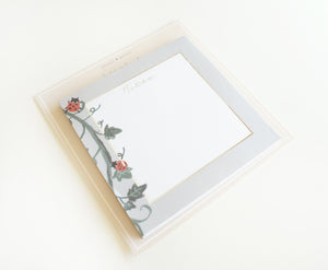 STICKY NOTEPAD - May Flowers LADYBUG + silver foil (Mystery Monday)