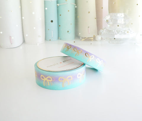 WASHI TAPE 15/10mm bow set MERMAID QUEEN + champagne gold foil