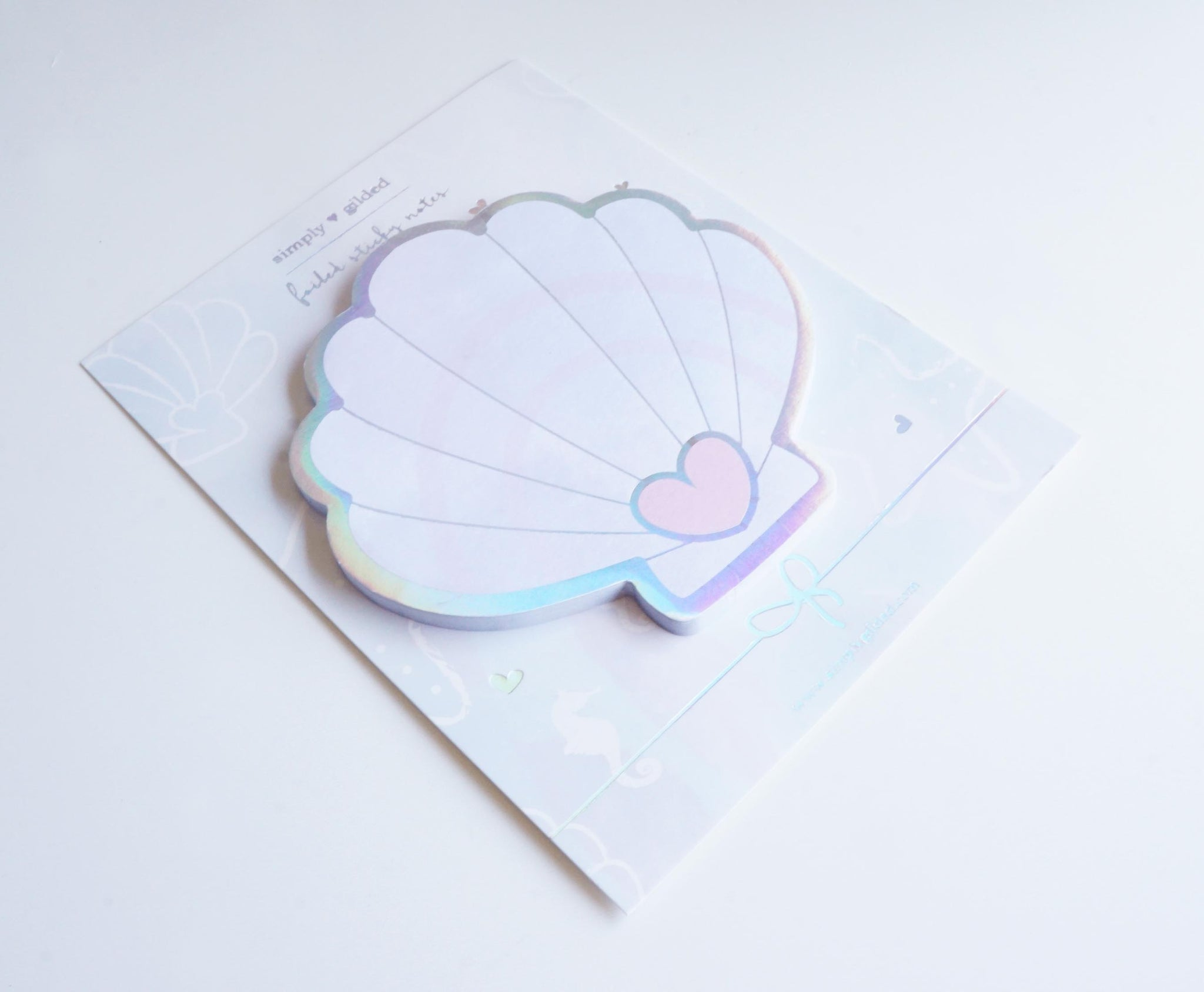 Seashell STICKY NOTES - watercolor holographic silver foil