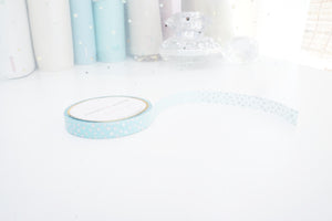 WASHI TAPE 7.5mm - MINT confetti + holographic silver foil (Mystery Monday)