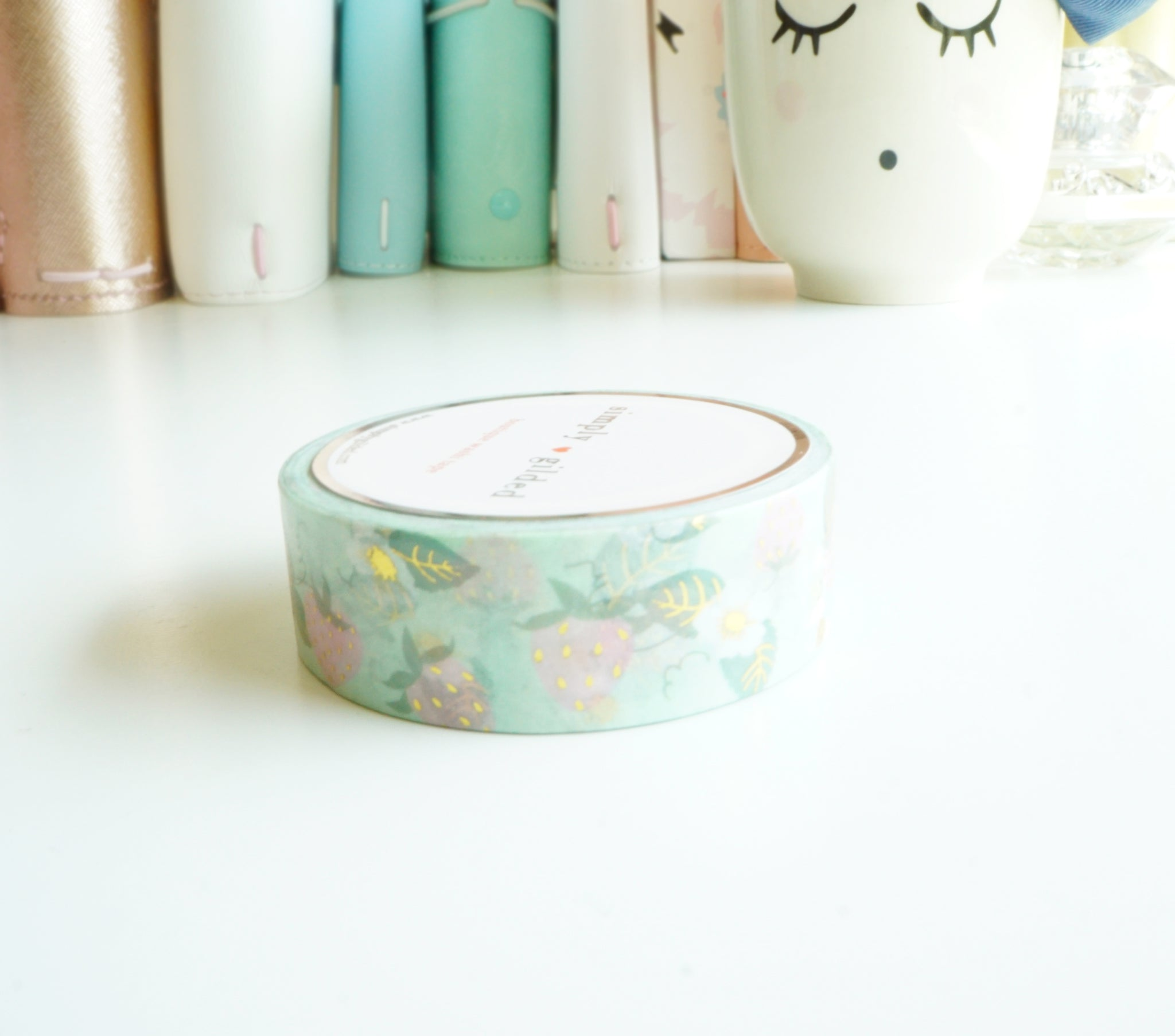 Mint strawberry patch with gold foil accents washi tape