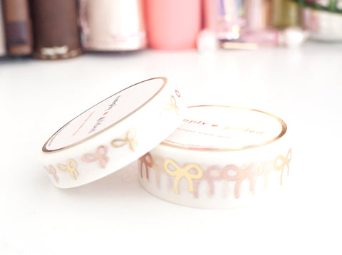 WASHI TAPE 15/10mm bow set White MIXED METALS + gold/ROSE GOLD foil (September release) OOPS