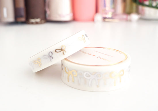 WASHI TAPE 15/10mm bow set White MIXED METALS +  gold/SILVER foil OOPS