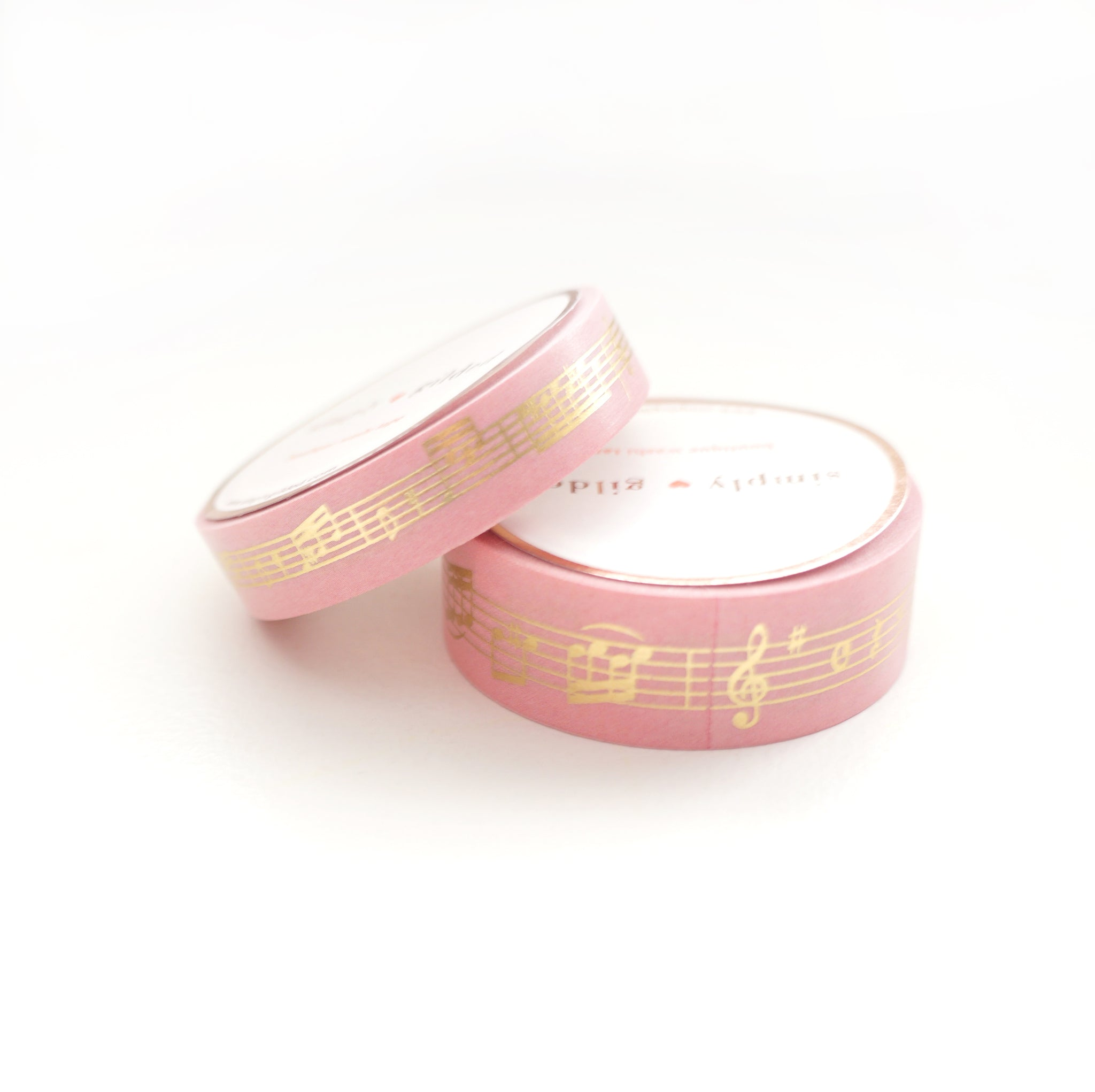 WASHI 15/10mm set - ROSY PINK Musical Notes + Light Gold