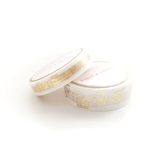 WASHI 15/10mm set - WHITE Musical Notes + Light Gold - OOPS
