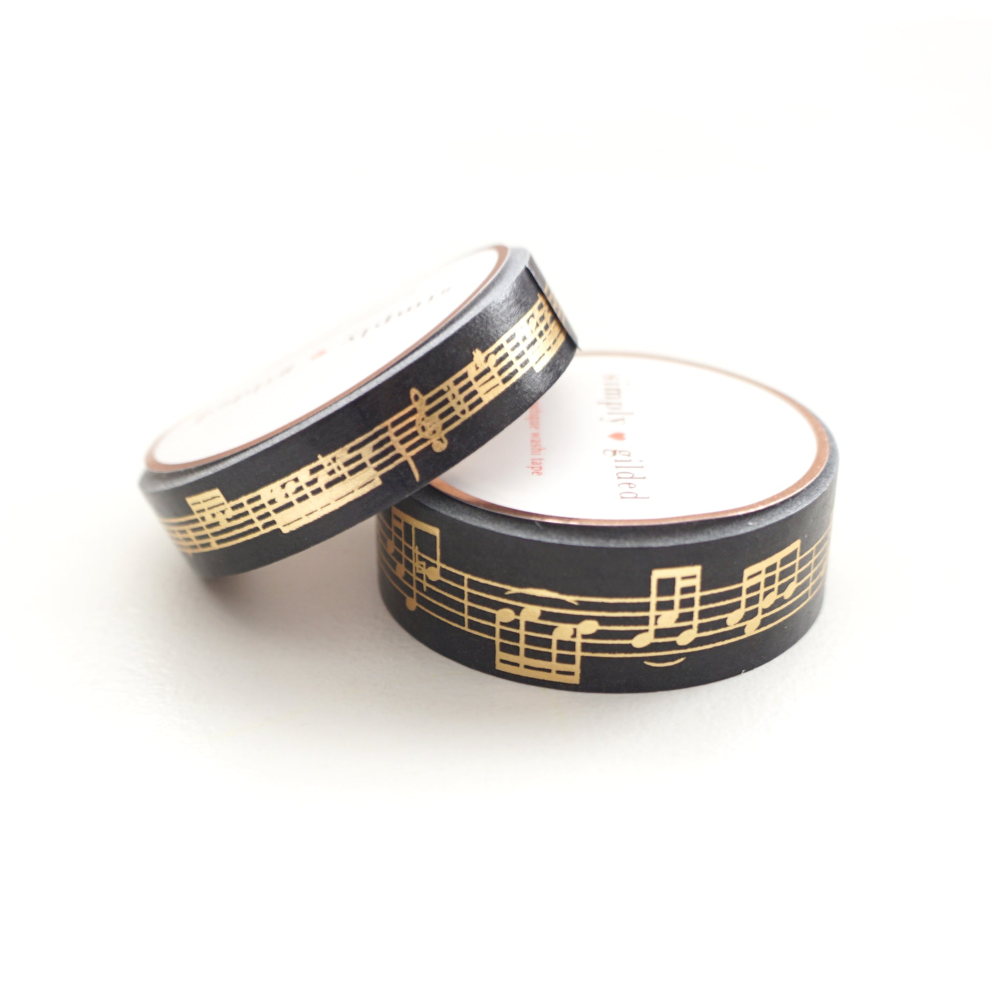 WASHI 15/10mm set - BLACK Musical Notes + Lt. Gold - OOPS