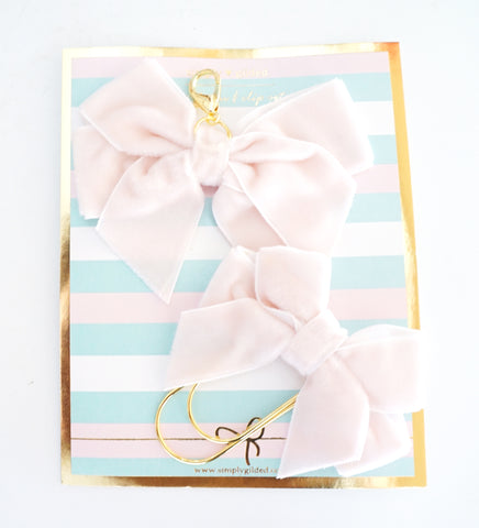Day 6 - Light Pink velvet BOW CHARM and CLIP (Mystery Box)