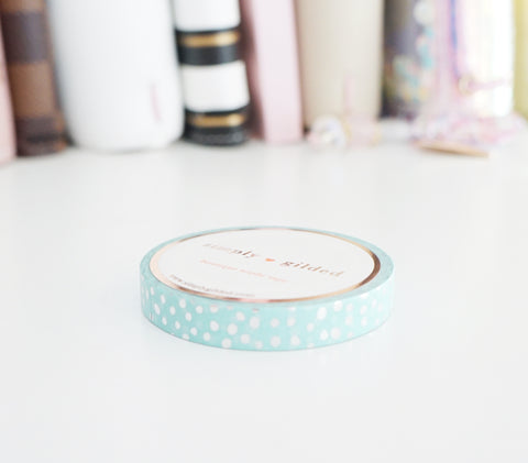 WASHI TAPE 7.5mm - ROBIN'S EGG BLUE + silver CONFETTI dot - Day 2 2018 Mystery Box (Mystery Monday)